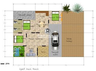 Desain Sket Denah Rumah Tipe 90 Lahan 180