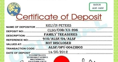 certificate of deposits The certificate of deposit indicates that the investor has deposited a sum of money for specified period of time and at a specified rate of interest cd rates, terms and dollar amounts will vary from institution to institution.