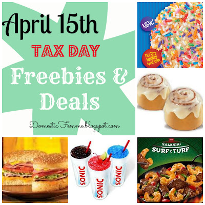 April 15th Tax Day 2013 Freebies and Deals Free Stuff