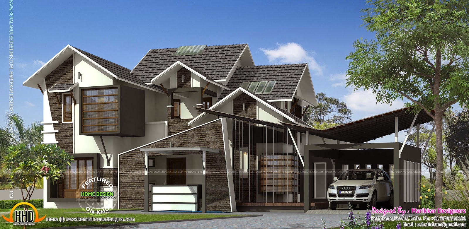 Ultra contemporary house kerala home design and floor plans for Super modern house design