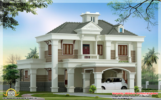 2500 square feet, double floor, 4 bedroom home design