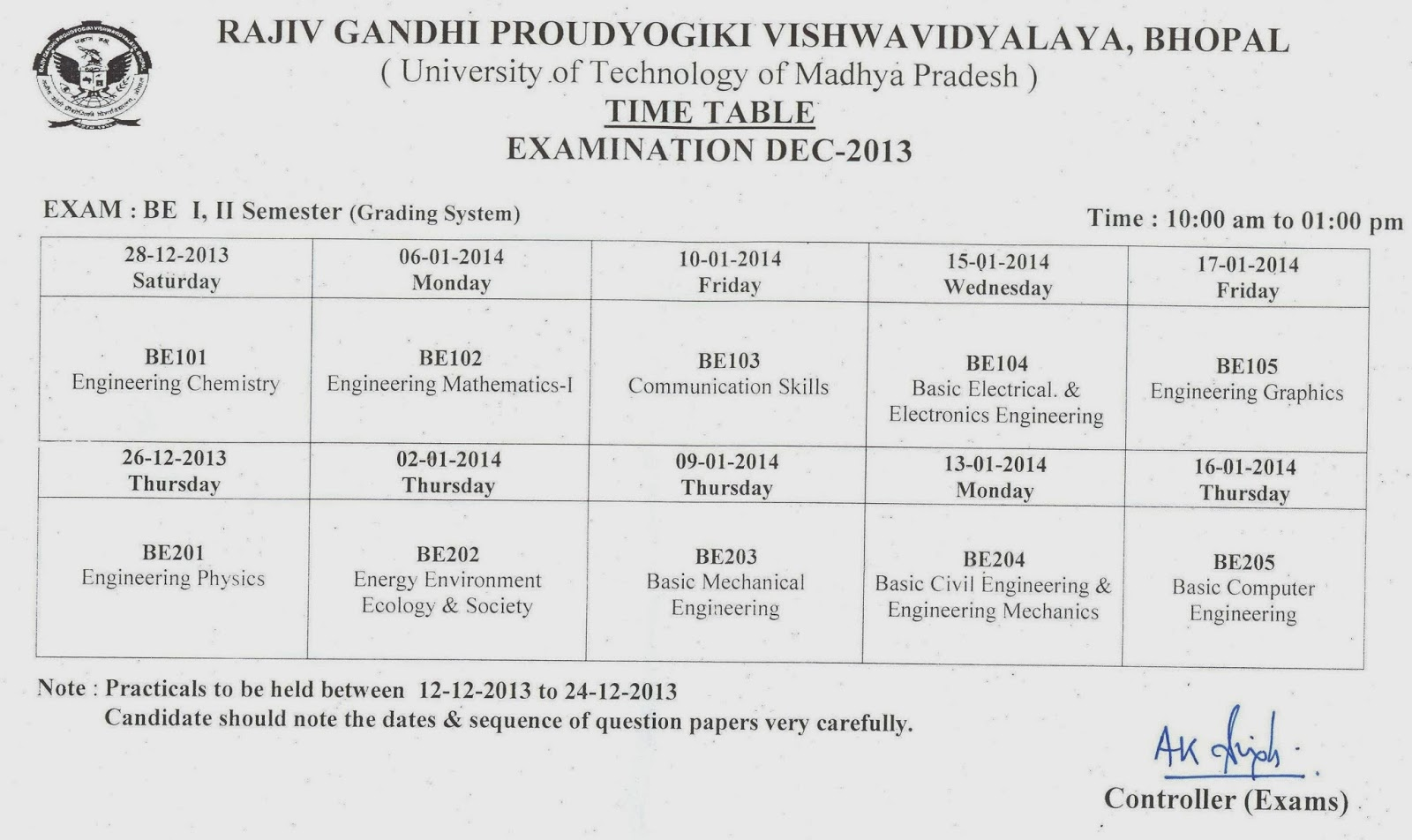 Rgpv b e 1st and 2nd sem examination time table 2013 2014 for Rgpv timetable 7th sem 2015