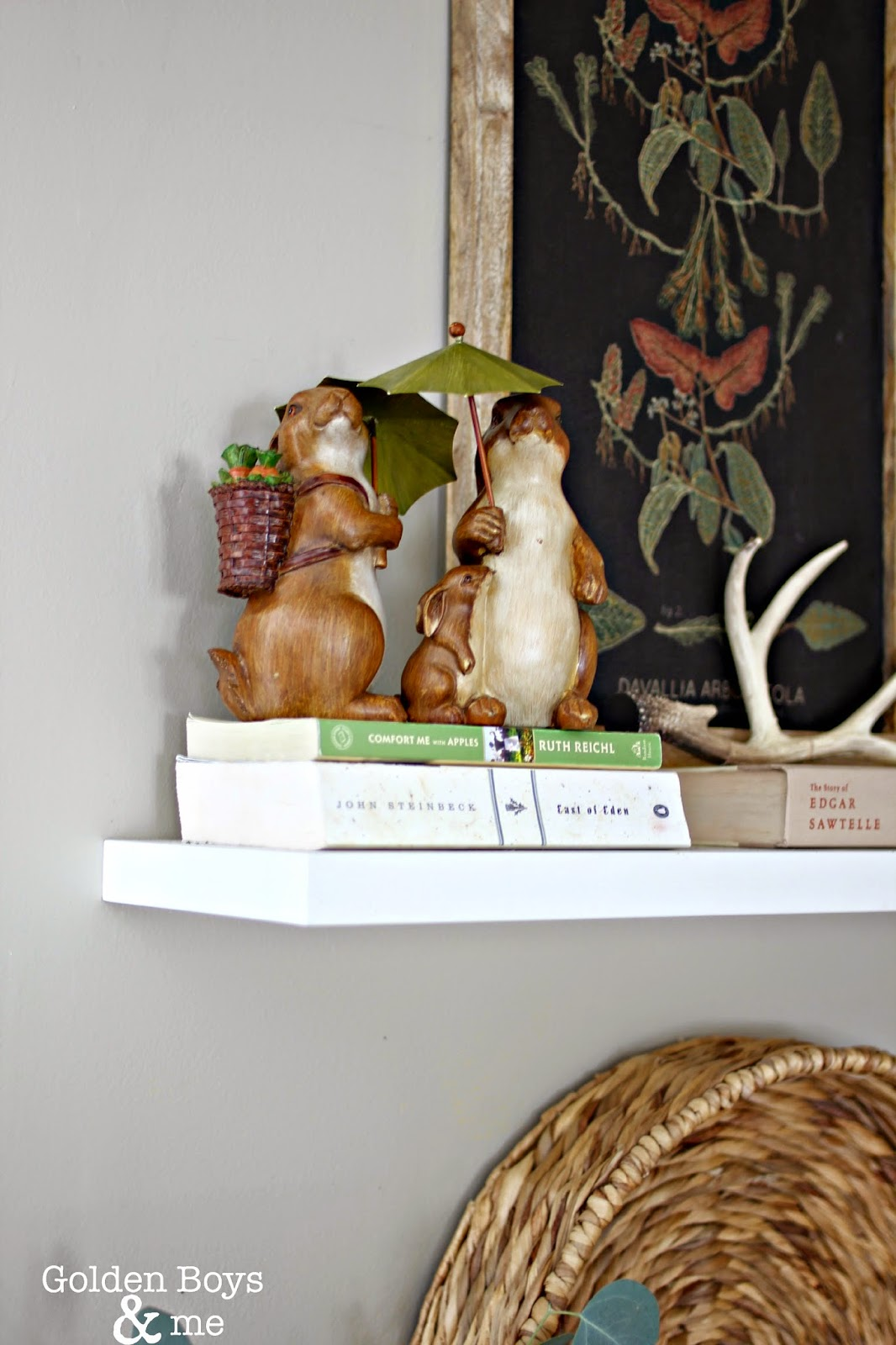 Ceramic painted bunnies on shelf with Target Threshold wall art-www.goldenboysandme.com