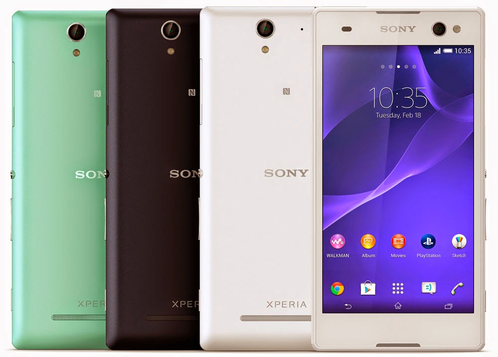 Sony Xperia C3 - Mint, Black and White Color