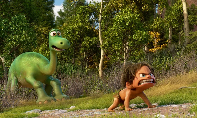 "A giant lizard and his boy, in Pixar's ""The Good Dinosaur"""