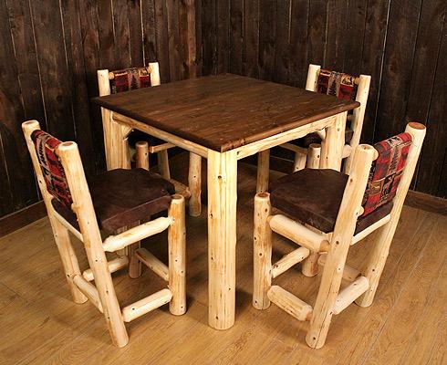 LogHeads Signature Rustic Log Pub Table