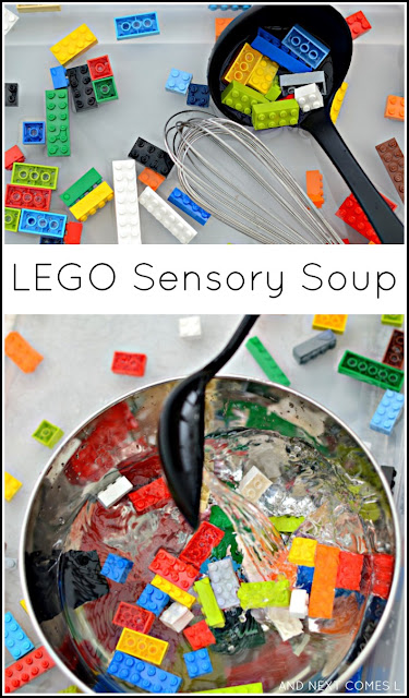 Fine motor water sensory activity for kids using LEGO from And Next Comes L