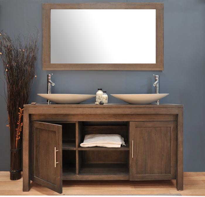 Meuble de salle de bain en teck grey meubles de salle de for Meuble de salle de bain teck