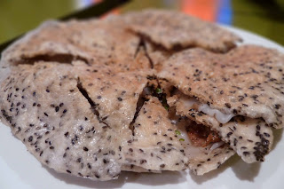 Steamed rice paper with grilled pork and rice cracker