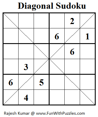 Diagonal Sudoku or Sudoku X (Mini Sudoku Series #22)