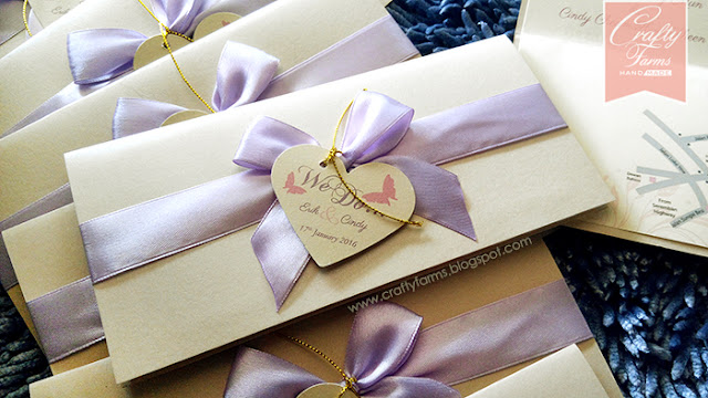 Bankers Club Wedding, Lilac Ribbon Wedding Invitation Card