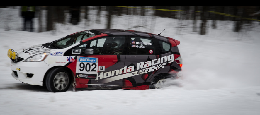 Hpd and thr head to 2014 sno drift rally with b spec honda for Honda fit in snow