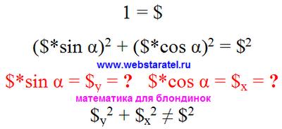 Теорема Пифагора. Применение теоремы Пифагора к единицам измерения денег. Математика для блондинок.