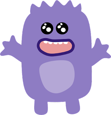 A cartoonish purple monster smiles with open arms.
