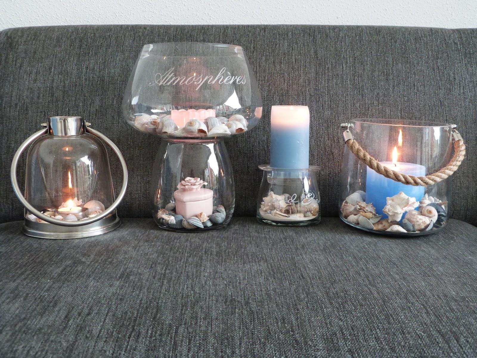 Het brocante schelpenhuisje veelzijdig glaswerk - Metaal schorsing en glazen ...
