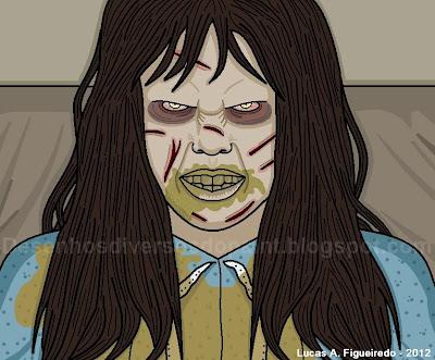 """Desenho da Regan Macneil do filme """"O Exorcista"""" feito no Paint"""
