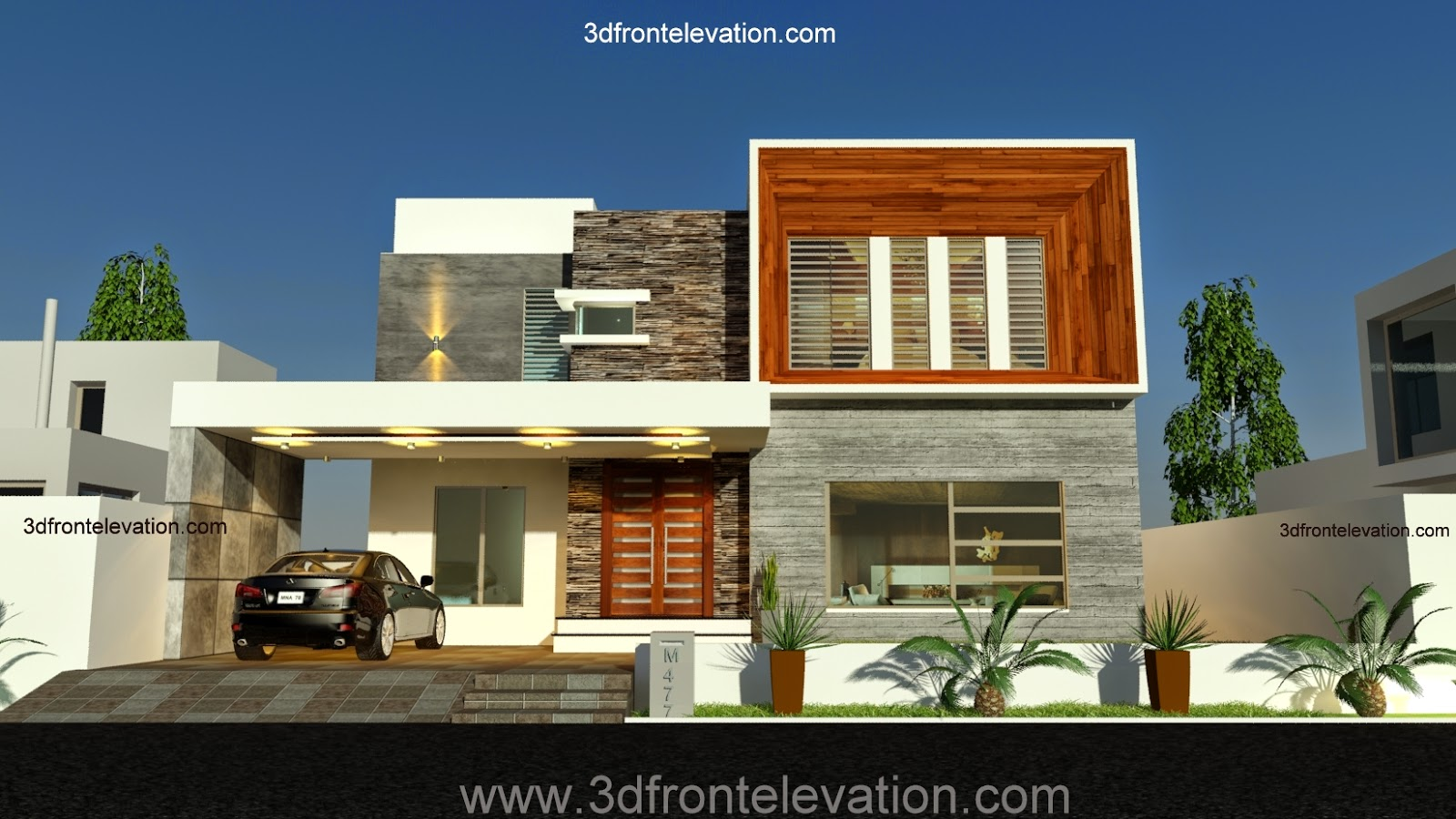 3d front 1 kanal contemporary house design for Home design ideas in pakistan