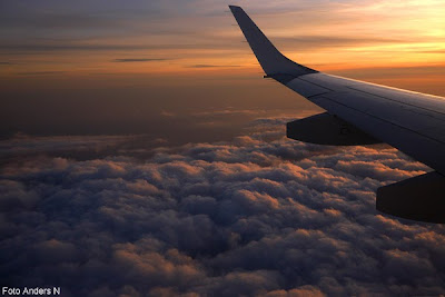 solnedgång, kvällsljus, flygplan, kvällsmoln, sunset, clouds, airplane