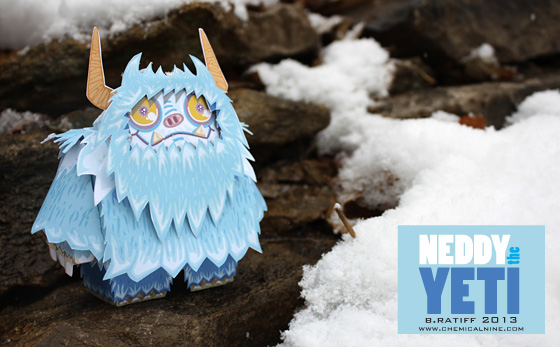 Paper model imprimible y armable de Neddy the Yeti. Manualidades a Raudales.