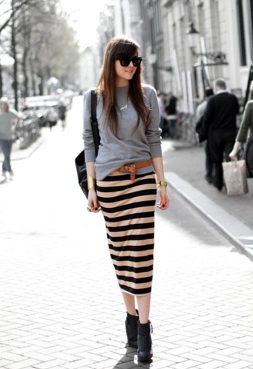 Cute striped skirt slouchy sweater fashion