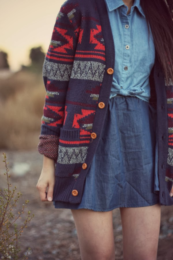aztec cardigan outfit for school