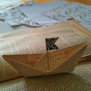 origami papercraft boat made from book page