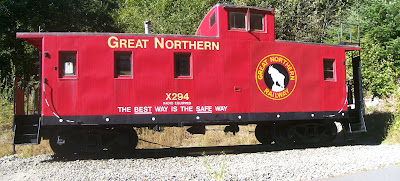 Iron Goat Trail Caboose. Image courtesy Cujo359.