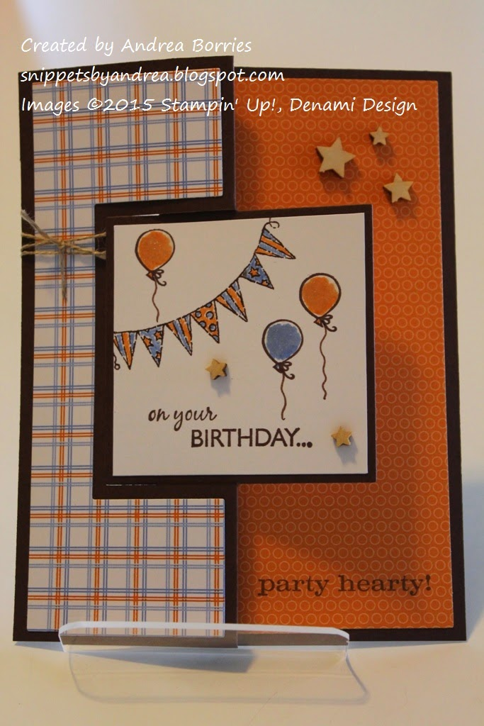 Birthday flip card features an orange and blue banner and balloons on the focal panel.