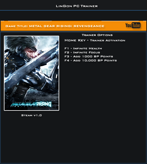 Metal Gear Rising Revengeance v1.0 Trainer +4 [LinGon]