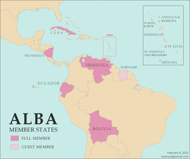Map of the Bolivarian Alliance for the Peoples of Our Americas (ALBA), showing full member countries, including new members Grenada and Saint Kitts and Nevis, as well as special guest members (colorblind accessible).