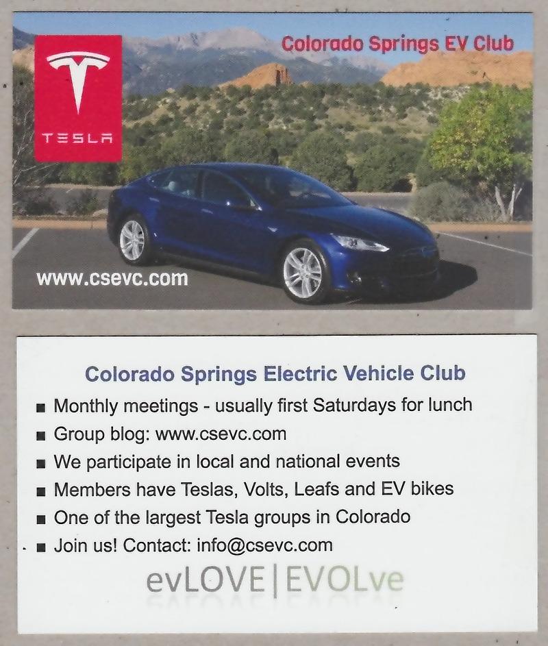 Colorado Springs Ev Club Club Supercharger Business Card