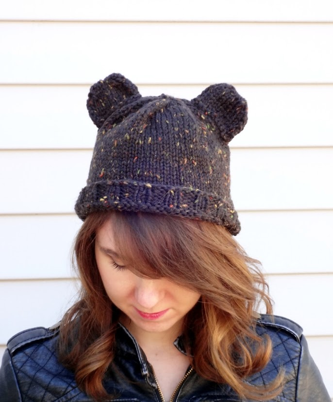 bear ear hat hand knit nickichicki etsy