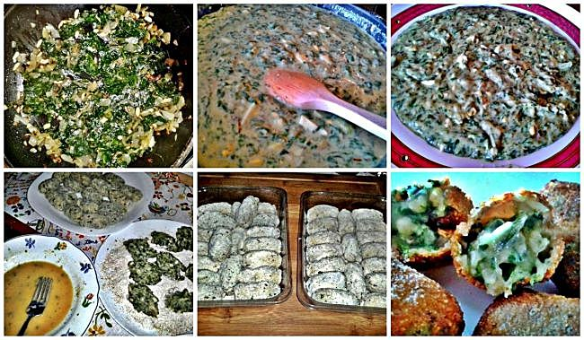 Preparación de las croquetas de espinacas y piñones