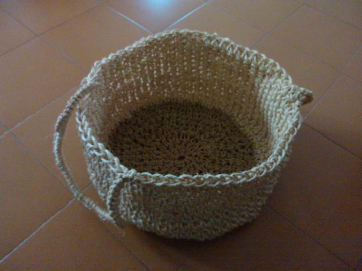 Aguja y cuchara cesta de cuerda - Cesta de cuerda y ganchillo ...