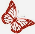 Butterfly logo in red, HVB vintage wedding blog 2013