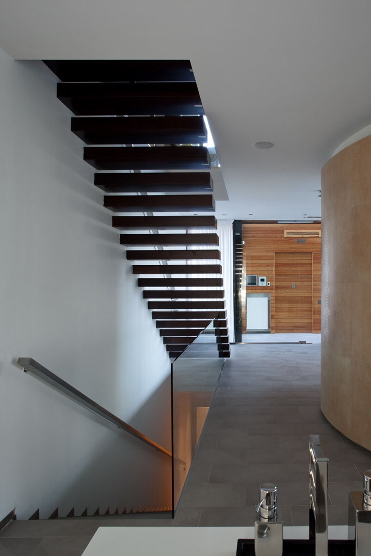 Stairs in Contemporary house in Ukraine by Drozdov & Partners
