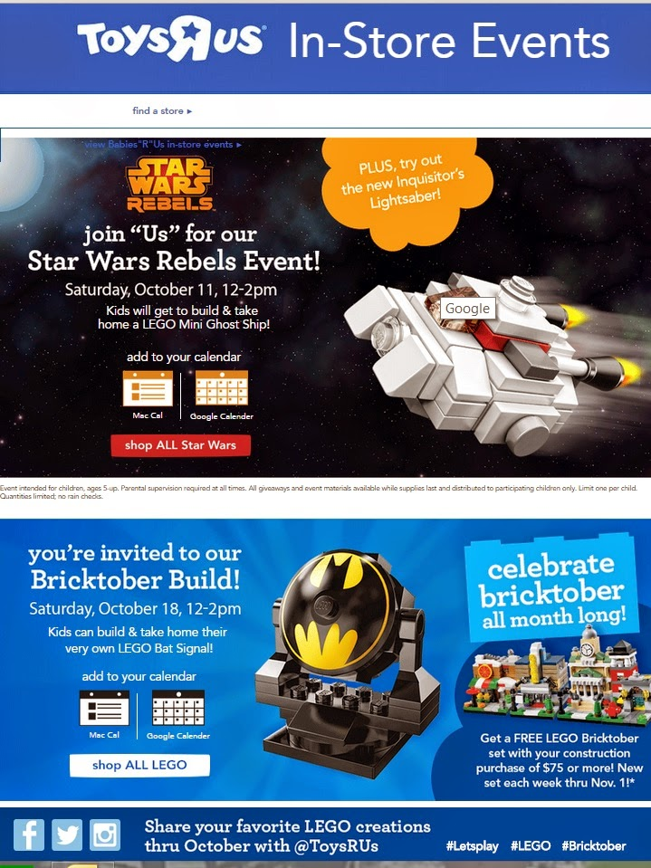 Toys R Us Free LEGO Events