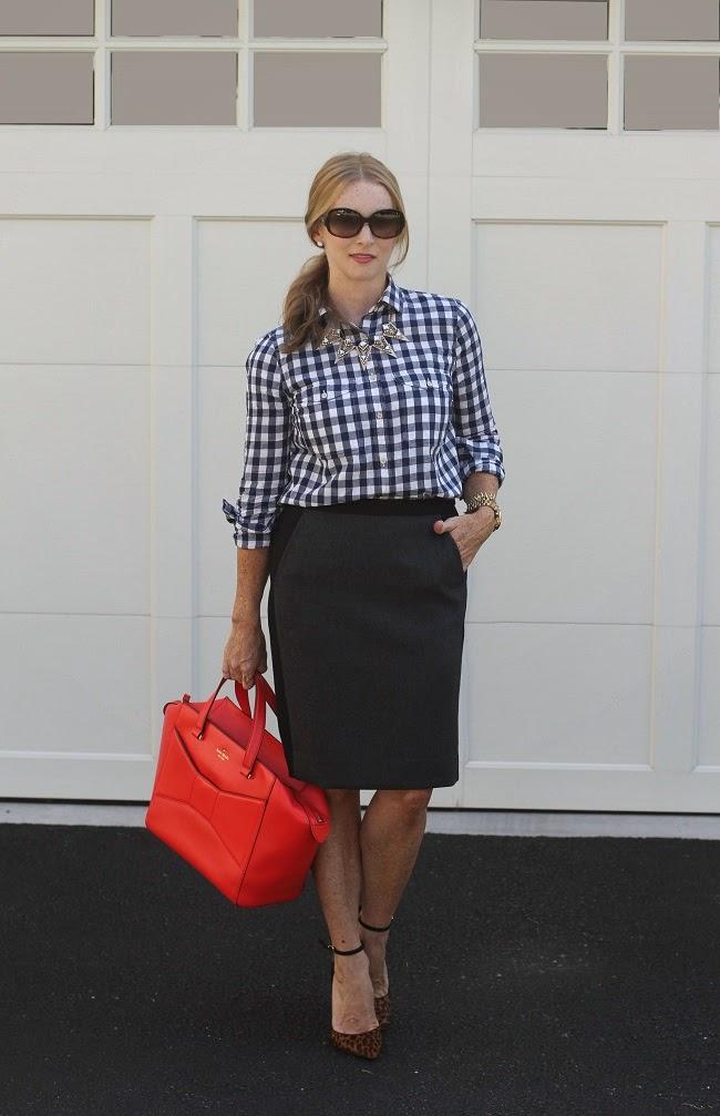 jcrew plaid shirt, jcrew gray wool skirt, baublebar necklace, kate spade beau bag, schutz heels
