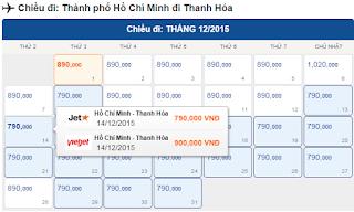 Giá vé máy bay Hồ Chí Minh về Thanh Hóa tháng 12