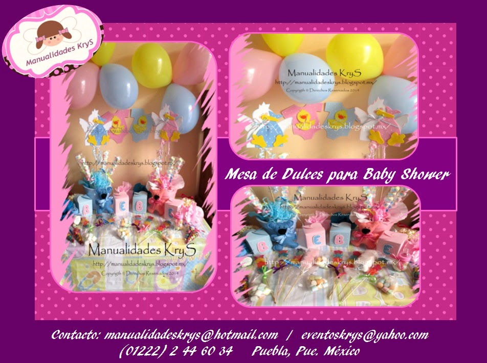 Manualidades krys mesa de dulces para baby shower for Mesa dulce para baby shower