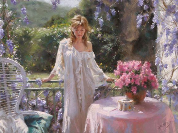 Vicente Romero pinturas mulheres impressionistas beleza Flores ao redor