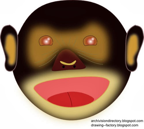 Monkey Head drawing - Aap hoofd tekening