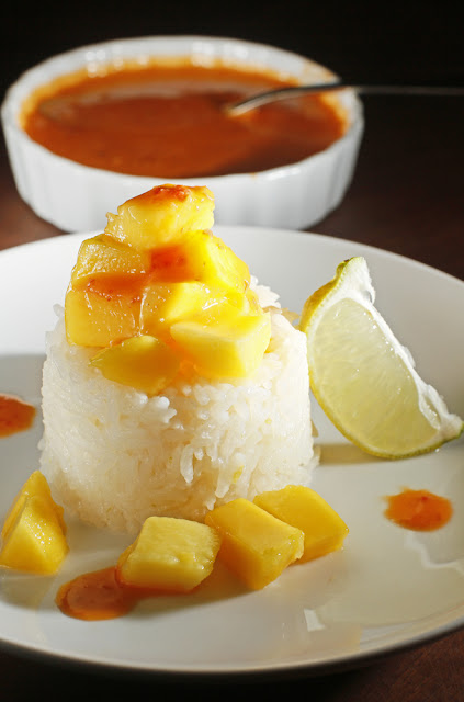 Mango-Lime Sticky Rice + Habanero Hot Sauce