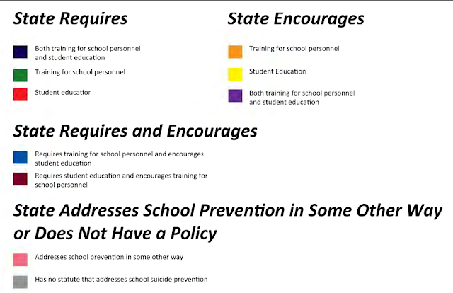 Color chart defining each U.S. states school suicide prevention statutes