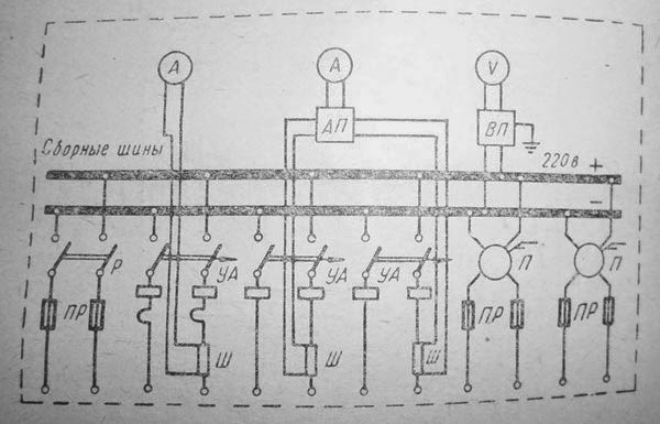 Принципиальная схема распределительной панели постоянного тока