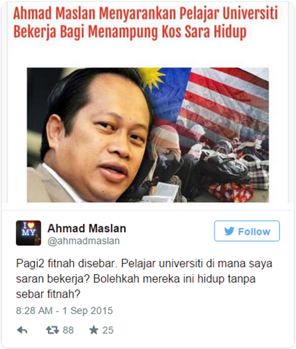 Difitnah, Ahmad Maslan Tampil Sangkal Kenyataan Palsu!