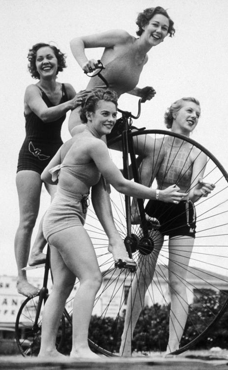 1930s Girls' Day in the Sun #1930s #bicycle #fashion #summer