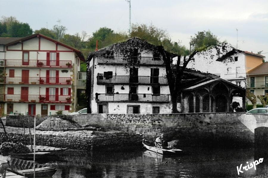 montaje de fotografia antigua del barrio de kosta de hondarribia