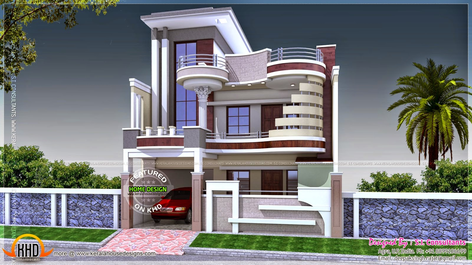 India house balcony designs for Small indian house plans modern