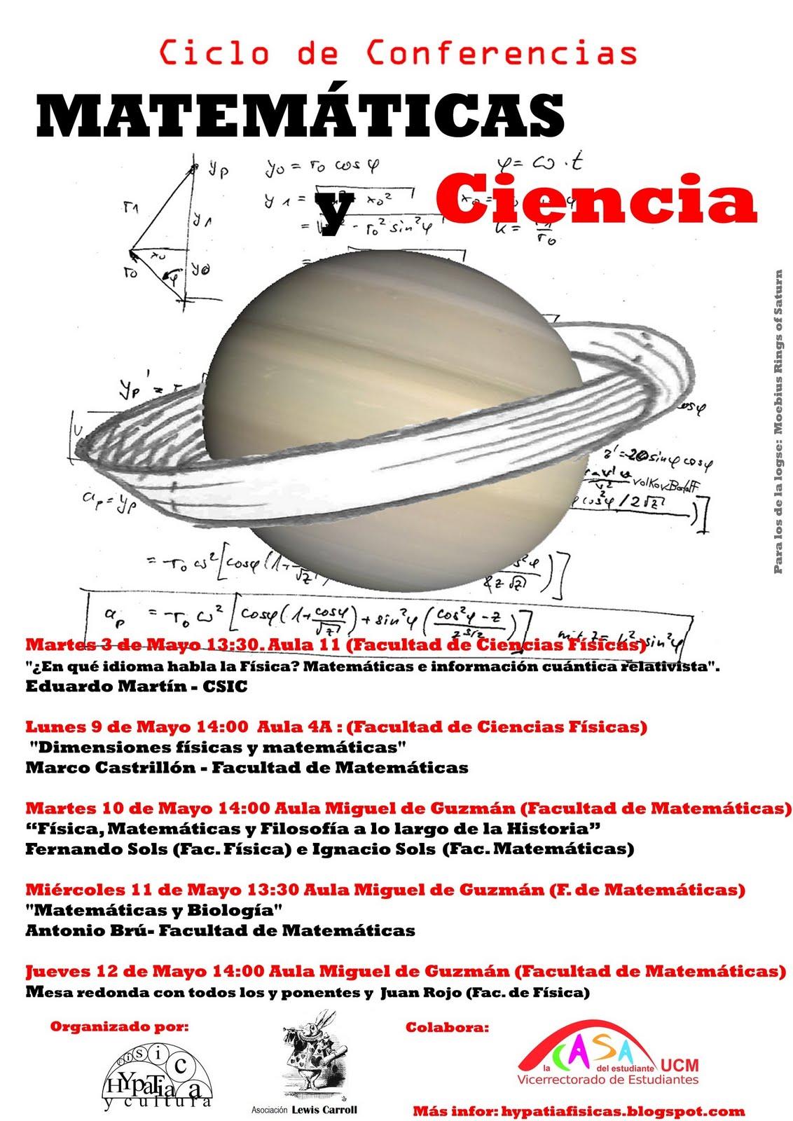 """Hypatia Físicas UCM: Ciclo de Conferencias: """"Matemáticas y"""